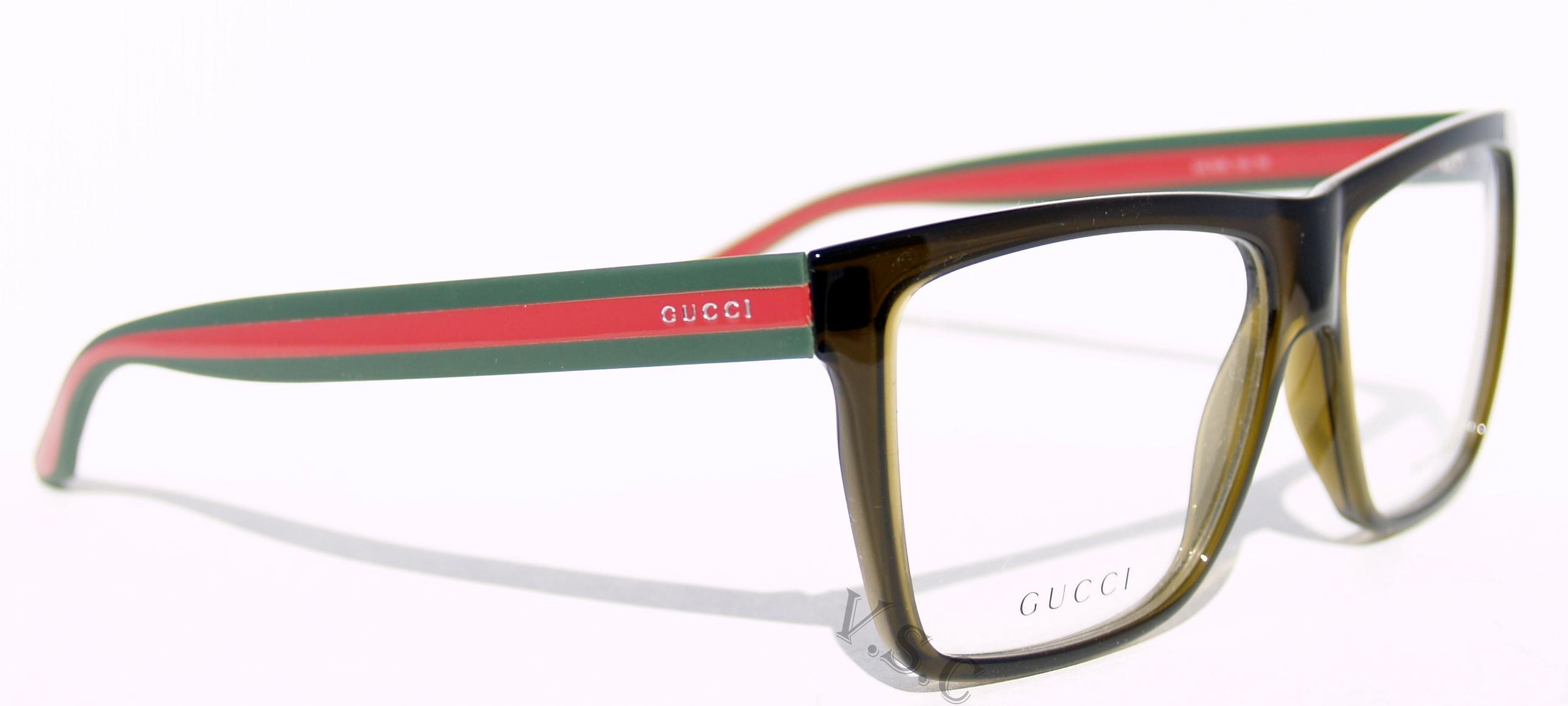 GUCCI 1008 EYEGLASSES GG EYE GLASSES 53U BROWN GREEN RED ...