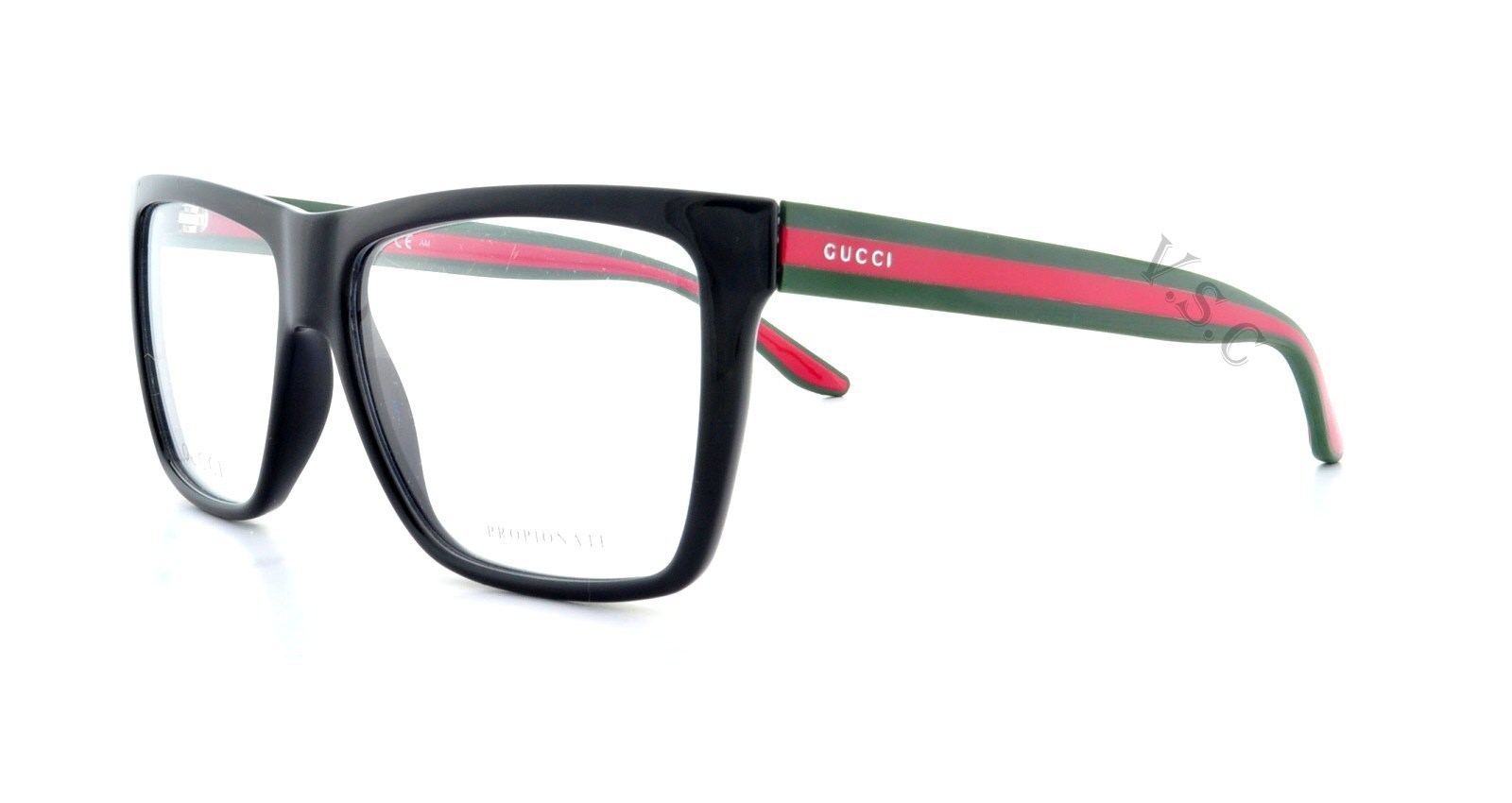 GUCCI 1008 EYEGLASSES GG EYE GLASSES 51N SHINY BLACK - RED ...