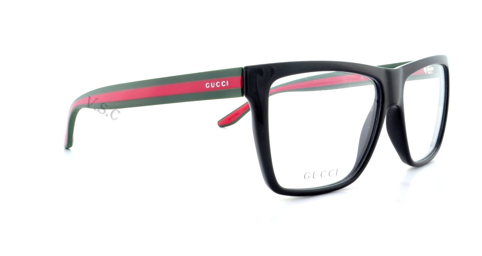 Eyeglass Frames Gucci : GUCCI 1008 EYEGLASSES GG EYE GLASSES 51N SHINY BLACK - RED ...